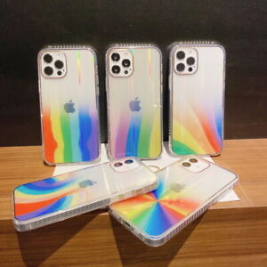 For iPhone 12 Pro Max 11 XS XR X 8 7 SE Rainbow Clear Plating Laser Case Cover