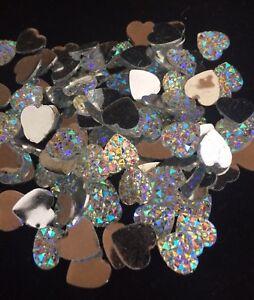 100-X-Resin-Flatback-AB-Silver-Heart-Embellishments-10mm-Approx