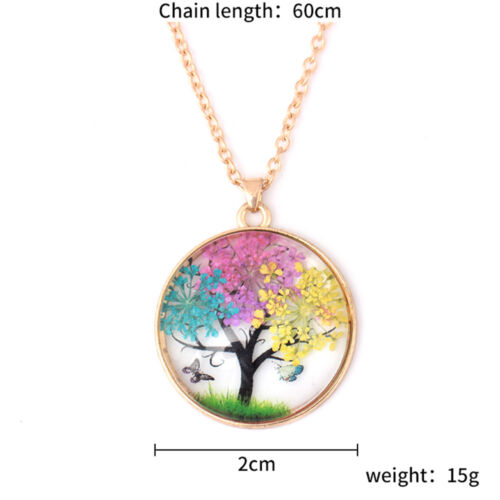 1PC Creative Gift of Natural sec Fleur Arbre Papillon Fait Main Collier Pendentif