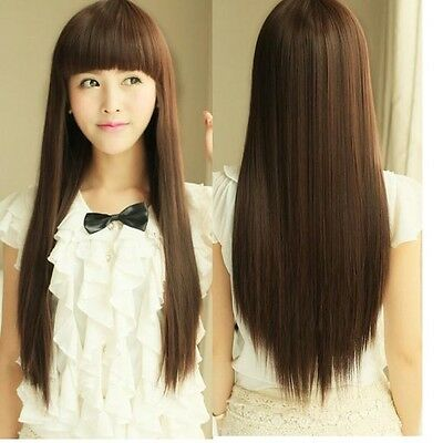 Women's Straight Long Full Hair Wigs Cosplay Party Wig With full Bangs Gift New