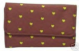 Women/'s BROWN w// Tiny Lime Green Hearts Wallet