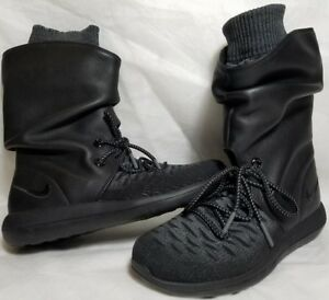 detailing 2cc73 51f65 Details about New Nike Roshe 2 Flyknit Women Size 5 - 7.5 Leather Black  Grey Boot 861708 001