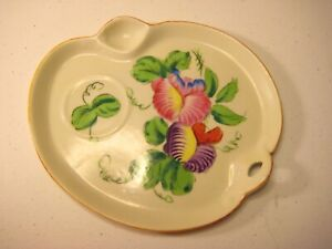 Paint-Palette-Dish-or-Candy-Tray-with-Flower-Design-Japan-Vintage-Handpainted