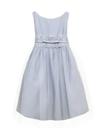White Ivory Satin Metallic Lace Girls Dress Wedding Easter Baby Kids Party New