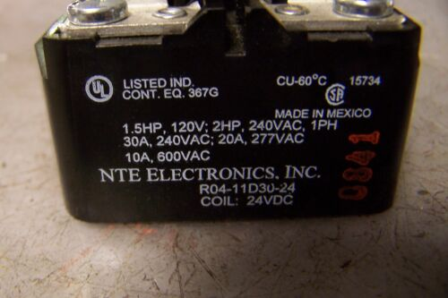 NEW NTE ELECTRONICS R04-11D30-24 POWER RELAY 24 VDC COIL 600 VAC 10 HP