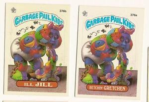 1987 Garbage Pail Kids Cards Series 9 376a Retchin Gretchen 376b Ill Jill Ebay