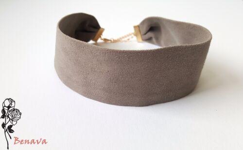 Choker Halskette Halsband Samt Grau Gold