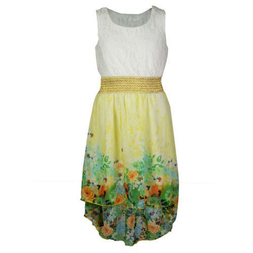 Kids Girls Floral Sleeveless Fishtail Lace Fully Lined Dress Top  Age 4-13 Years