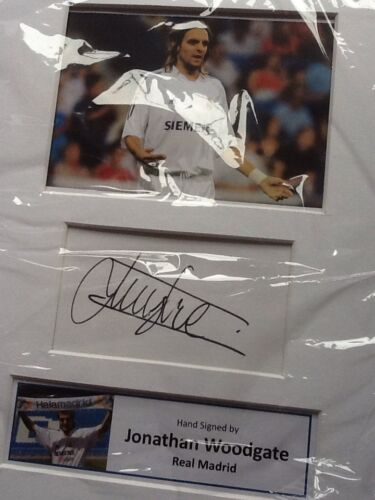 Real Madrid Jonathan Woodgate Hand Signed Photo Mounted Display A4 Leeds United