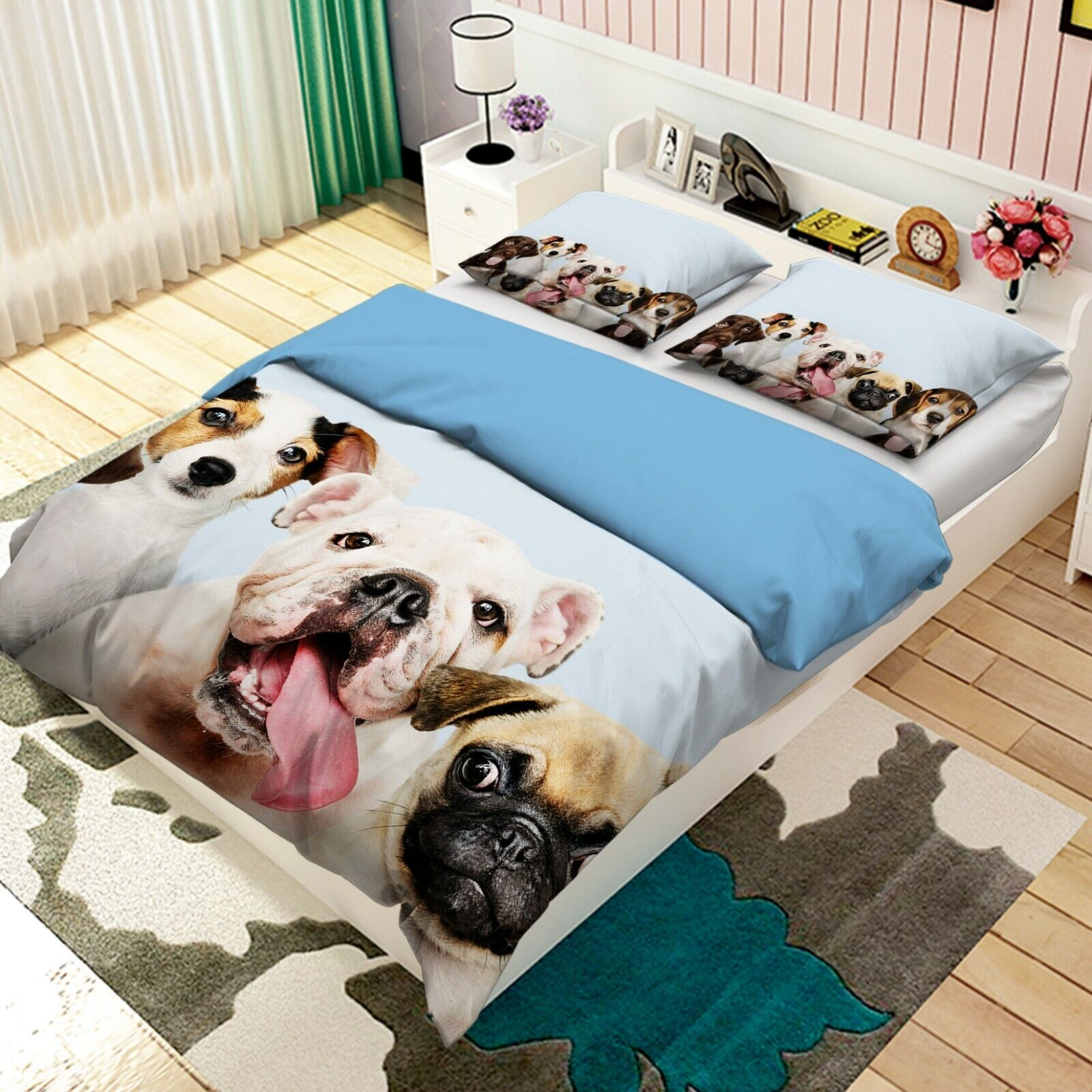 3D Cute Pet Hund I20 Animal Bett Pillowcases Quilt Duvet Startseite Königin König An