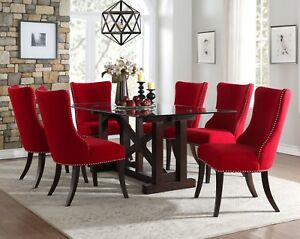 Details About CONTEMPORARY GLASS DINING TABLE WITH CONTOURED BACK RED  CHAIRS FURNITURE SET