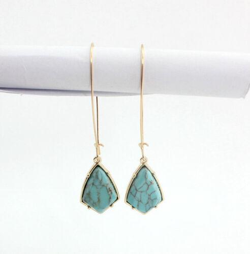Plaqué or bleu//blanc Turquoise pierre naturelle Crochet Boucles D/'oreilles Pendantes EH0944