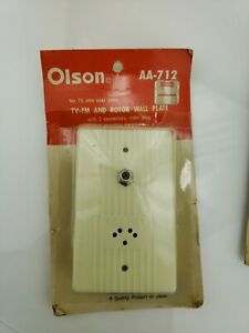 Vintage-Olson-TV-FM-Rotator-Wall-Plate-w-Connectors-and-Rotor-Plug-Ivory-Color