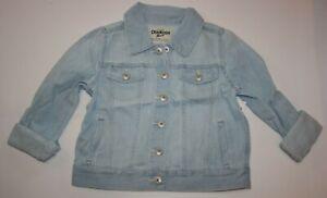 New OshKosh 6X year Girls Denim Jacket Light Blue Jean Snaps Cuffs Flap Pocket
