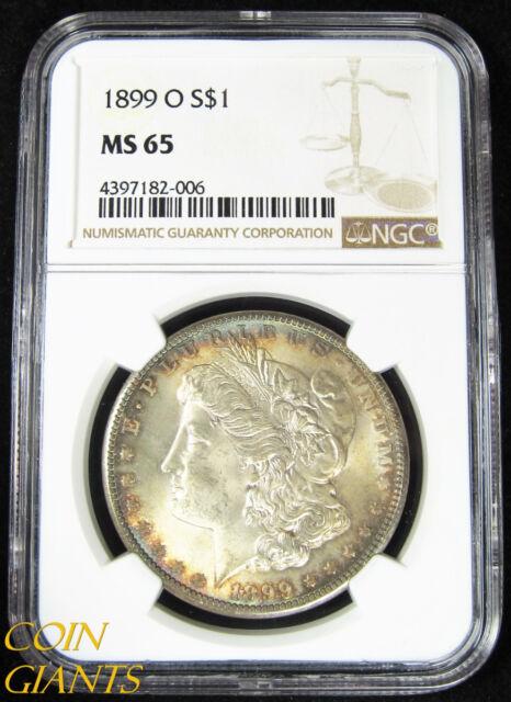 1899-O $1 Morgan Silver Dollar NGC MS 65 Brilliant UNC GEM KEY BU Rainbow Toned