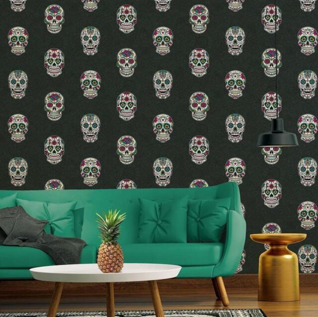 Black Multi Skulls Wallpaper Paste The Wall Decorated Skull Design 35817 3