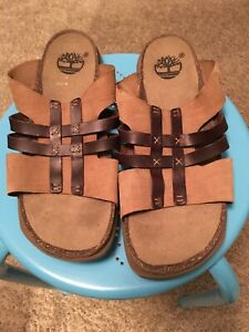 Timberland Women s Soft Leather Cork Sole Brown Tan Slipon Sandals ... bca6295b8
