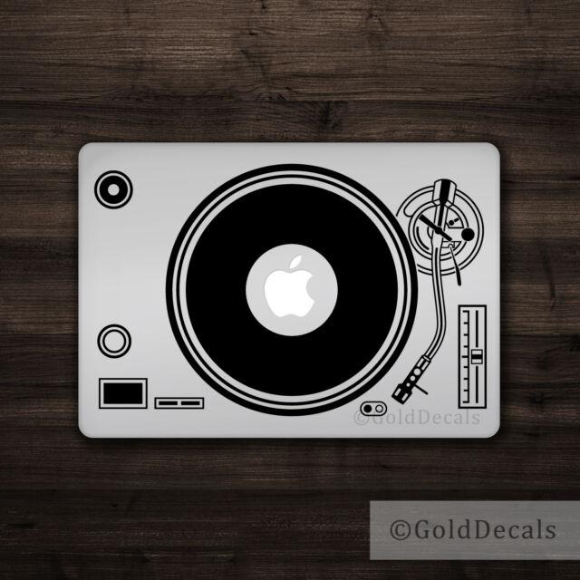 Dj turntable mac apple logo laptop vinyl decal sticker macbook music record