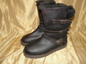 Details about UGG Becket Chocolate Water resistant Leather Sheepskin Short Boots Size 11 Women