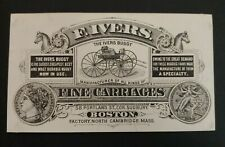 Trade Card F. IVERS FINE CARRIAGES & BUGGIES, NORTH CAMBRIDGE MA, BOSTON,