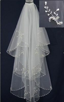 New Handmade beaded Beads Pearl White/Ivory 2T Wedding Bridal Veil with Comb