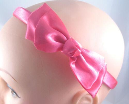 Beautiful New Fuscia Pink Colored Headband With Satin Bow #H0122