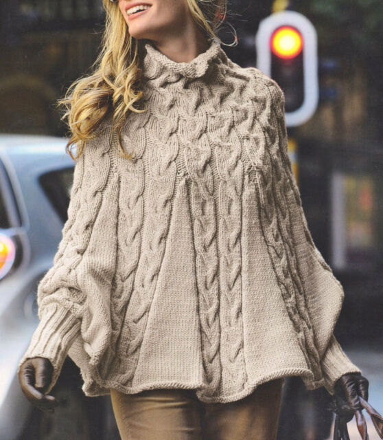 Aran Cabled Poncho with High Collar and Cuffs - S/M  M/L  - Knitting Pattern