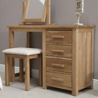 Windsor Solid Oak Bedroom Furniture Dressing Table With Stool With Felt Pads