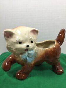 Vintage Ceramic Brown Kitten Cat Planter, Blue Eyes, Blue Bow, 1940s-1950s