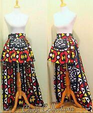 Womens High Waisted High Low Red Yellow Black Ankara African Print Skirt
