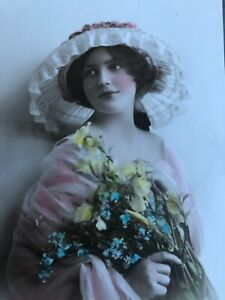 RPPC-Tinted-Antique-Postcard-Pretty-Lady-Hat-Yellow-Flowers-In-Pink