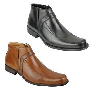 Mens Real Leather Ankle Boots Zip