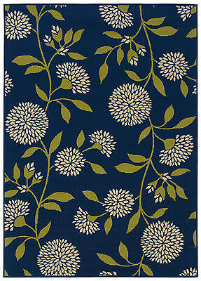 """4x6 (3'7"""" x 5'6"""") Modern Contemporary Floral Indoor Outdoor Blue Aster Area Rug"""