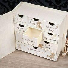 Button Corner Baby Keepsake Memory Box Drawers Chest Newborn Christening Gift