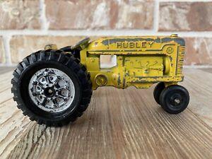 Vintage-Hubley-Fundido-a-Presion-Tractor-De-Juguete-Amarillo