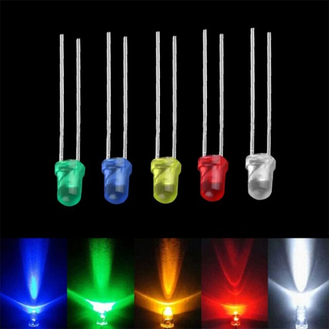 100pcs 3mm White Green Red Blue Yellow LED Light Bulb Emitting Diode Lamps FE