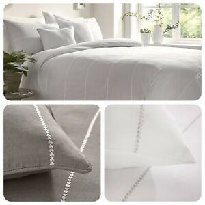 Appletree-Signature-SALCOMBE-Chevron-Embroidered-100-Cotton-Duvet-Cover-Set