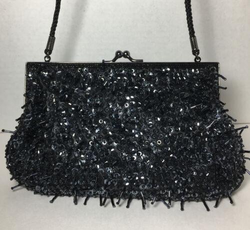 Lancome Handmade Black Beaded Zipper Clutch Black Beaded Make Up Bag Vintage Black Lancome Tassel Clutch