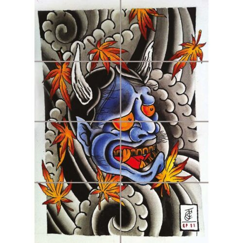 Japanese Demon Tattoo Giant Wall Mural Art Poster Picture Print 33x47 Inches