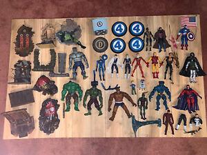 Huge-Lot-Of-Marvel-Legends-With-Basses-Toybiz-Lot-of-Of-21-Hulk-Gambit-Goblin