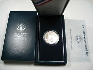 Unc-1990-US-Eisenhower-Centennial-Commemorative-Silver-Dollar-w-Box-amp-COA