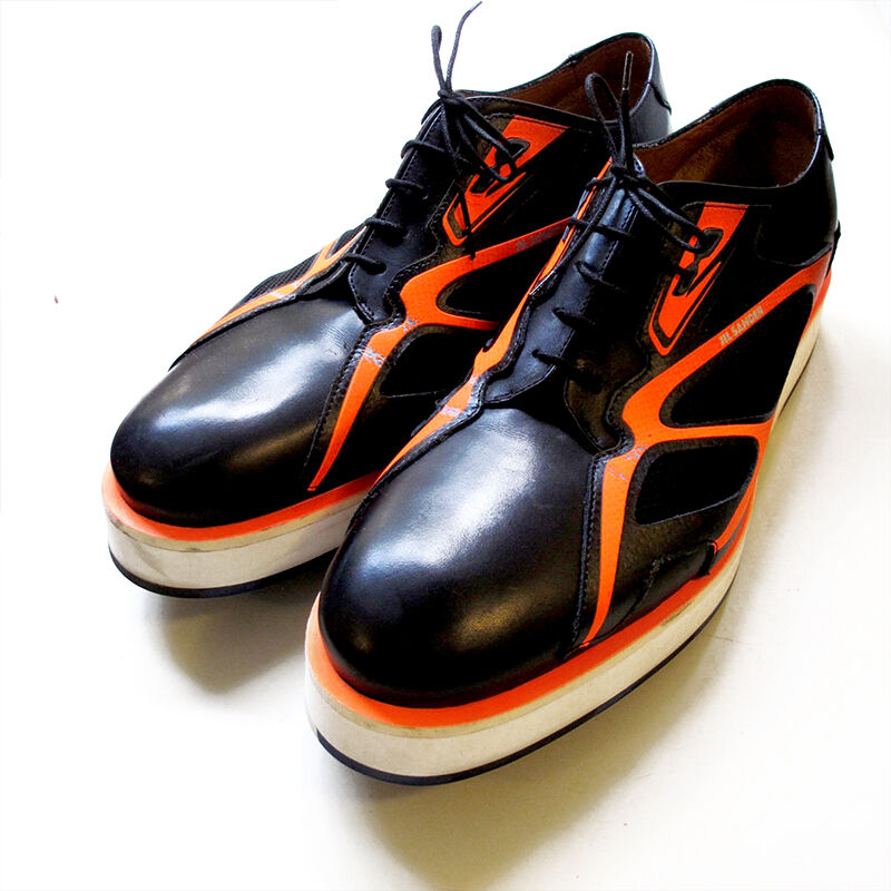 JIL SANDER Black & Neon orange Leather Hybrid Sneakers