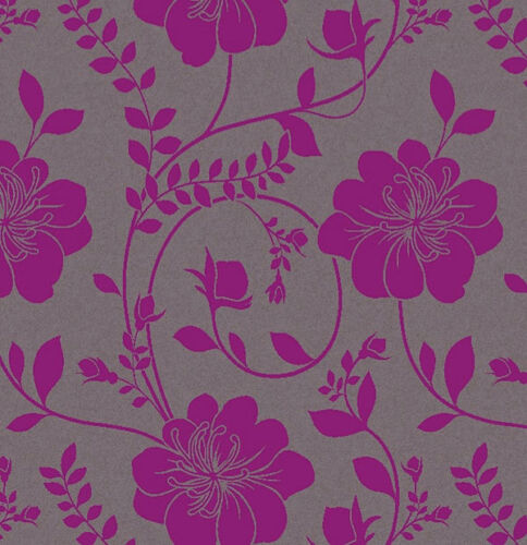 Grey Purple Floral Wallpaper Flower Metallic Twilight Paste The Wall Arthouse