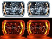7X6 Amber LED Halo Projector Halogen Crystal Headlights Angel Eye H4 Light Bulbs