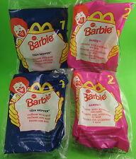 "4 McDonald's Barbie Dolls 4.5"" with Stands #1 Teen Skipper #2 Denim MIP 1998 New"
