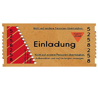 30 Einladungskarten Geburtstag Einladung • Eintrittskarte • Ticket • 40 50 60 18