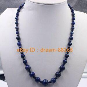 "Beautiful 6-14mm Blue Lapis Lazuli Round Beads Gemstone Necklace 18/"""