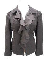 Womens Anne Taylor Loft Patch Black Long Sleeve Casual Jacket Size 8