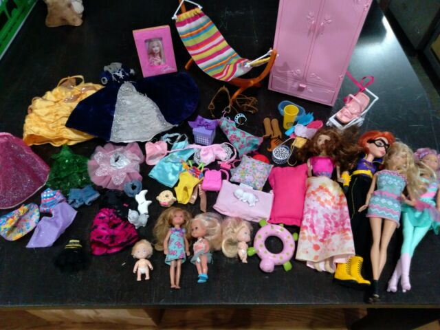 barbie mattel disney lot of dolls clothes closet stroller brands/unbranded GUC