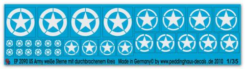 Peddinghaus-Decals 1//35 2090 US Army Sterne weiss mit durchbrochenem Kreis